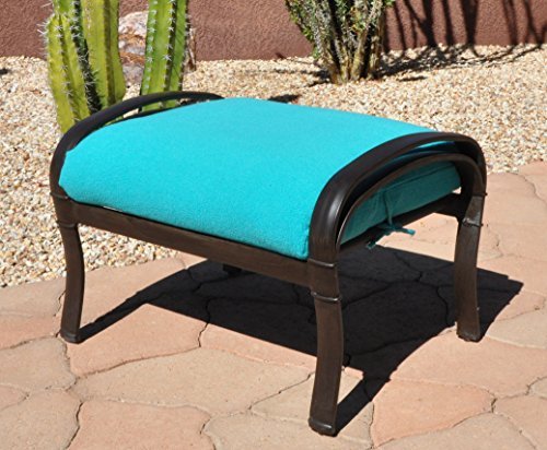 CushyChic Outdoors Terry Slipcover for Ottoman Cushion in Aruba - Slipcover Only - Cushion Insert NOT Included
