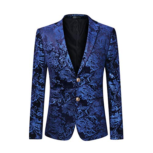 - Cloudstyle Men's Dress Floral Suit Notched Lapel Slim Fit Stylish Blazer,Blue,Small