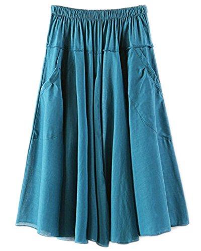 Femmes de Style Bohme Bande de Taille lastique Mi-Longueur Jupe Lac Vert