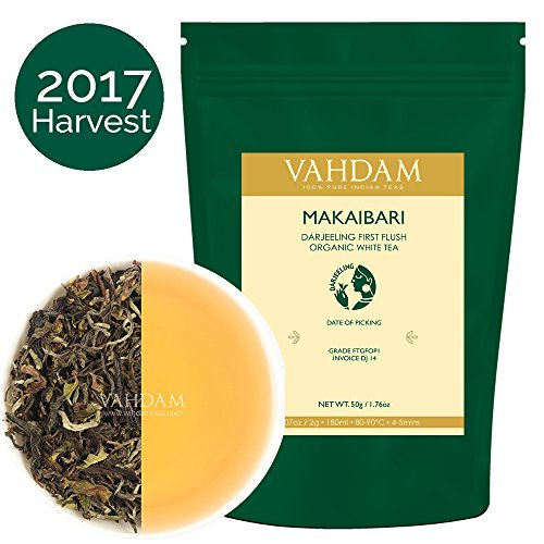 Frontier White Organic Tea (2017 Harvest, Makaibari Darjeeling First Flush Organic White Tea, 100% Pure Unblended White Tea Loose Leaf Sourced Direct from the Makaibari Tea Estate (25 Cups), Powerful antioxidants, Healthy Tea)