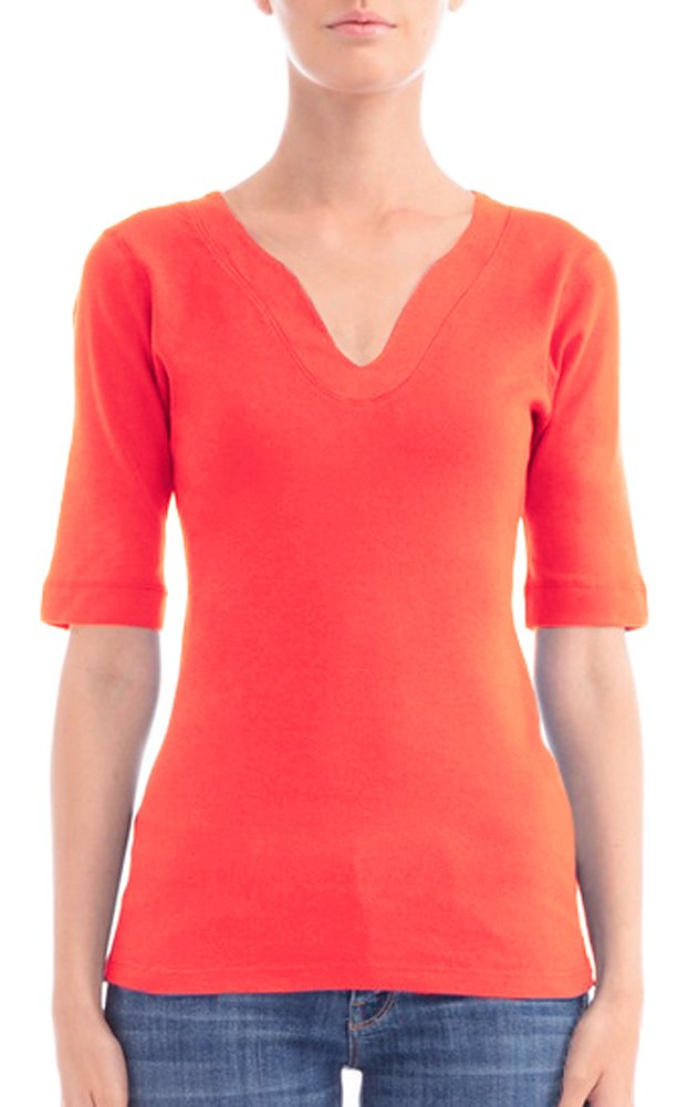 Three Dots 1/2 Sleeve Travel Top (Extra Large, Calypso Coral)