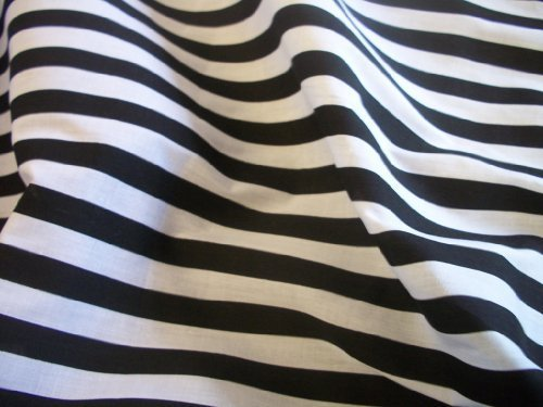 Black White Stripe Polycotton Fabric Per Metre By Uk Fabrics