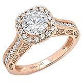 2.1 Ct Round Cut Pave Halo Wedding Engagement Bridal Anniversary Ring Band 14K Rose Gold, Clara Pucci