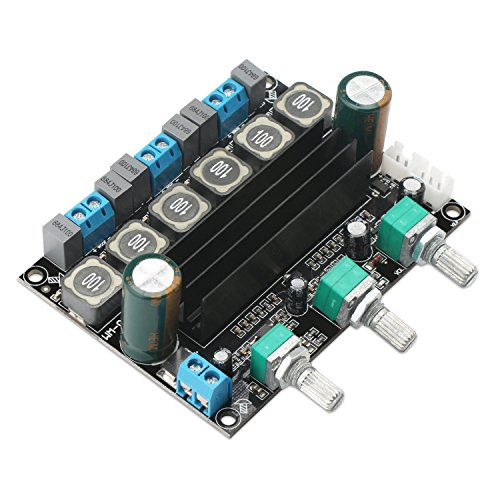 2.1 Amplifier Board, DROK 2.1 Channel 50Wx2+75W Stereo Audio Amplifier Module for Speakers, DC 10V-25V 12V 15V 19V 24V High Power TPA3116 DIY HIFI Digital Amp Kit with Volume Adjustment Knob