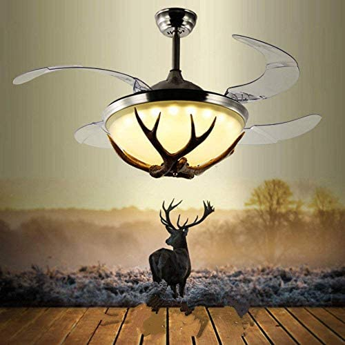 Lighting Groups 42″ Reversible Ceiling Fans Invisible LED Ceiling Fan Lamp Modern Resin Fan Light Industrial Retro Restaurant Antler Fan Chandelier