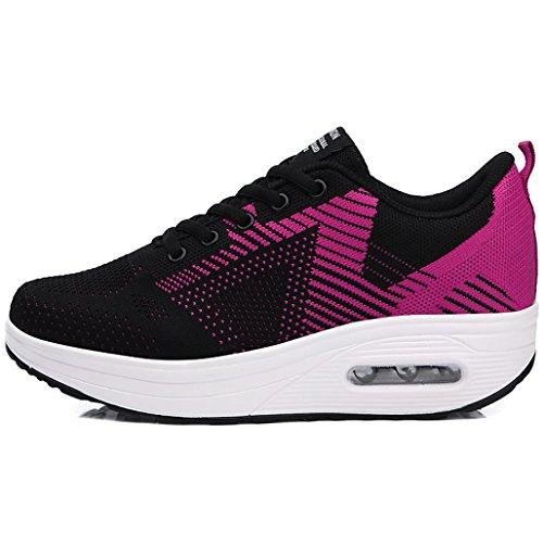 Et De Lacets Sport Course Talon Solshine Talons Compenss Chaussures Pour Compens Ups Baskets Femmes Shape Rose2 Noir qzznUZ0