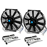 10 Inch High Performance Black Electric Radiator Cooling Fan Assembly Kit (Pack of 2)