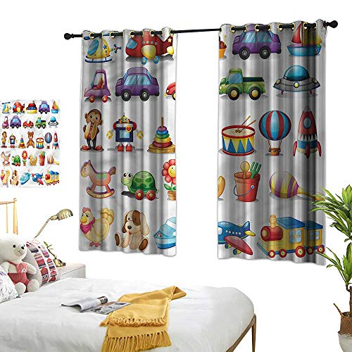 Warm Family Kids Blackout Curtains Colorful Cartoon Toy Pattern Suitable for Bedroom Living Room Study, etc.63 Wx45 L