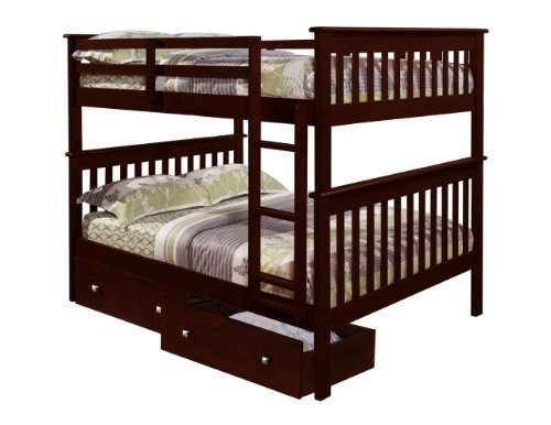 DONCO Bunk Bed Full over Full with Under-Bed Drawers in Cappuccino