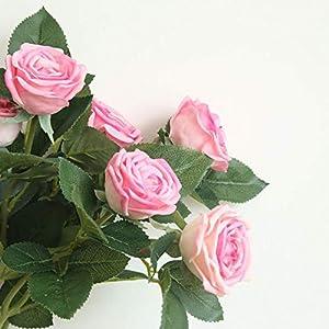 Smileshop01 1pc 2 Heads Rose Flower Artificial Flowers Simulation Silk Flower Wedding Decoration Rose Bouquet Flower Home Decoration,hot Pink 5