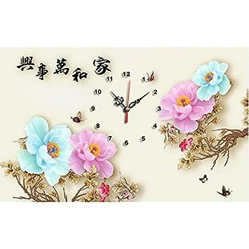 Reloj de pared con broca de punto de cruz, diseño de peonía, 5D, diamante, bricolaje, punto de cruz, dddbhome 60x40cm: Amazon.es: Hogar