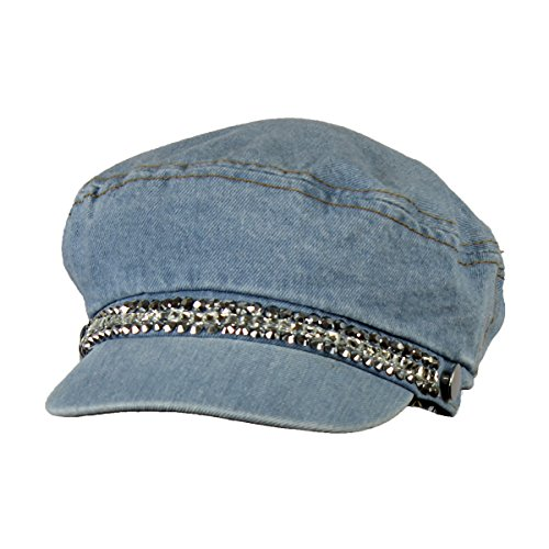 Denim Newsboy - Folie Co. Blue Bling Rhinestone Denim Cabbie Hat for Women - Crystal Studded Newsboy Cap …