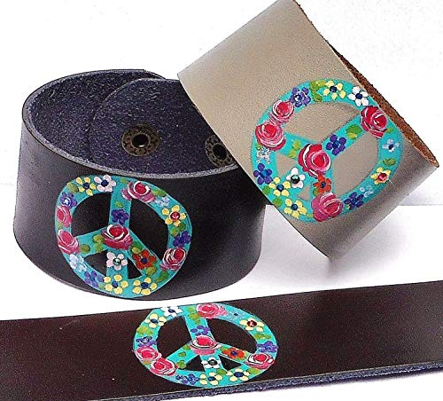 Black Brown Grey Painted Hippie Peace Sign Leather Cuff Bracelet for Women with Swarovski Crystal Rhinestones