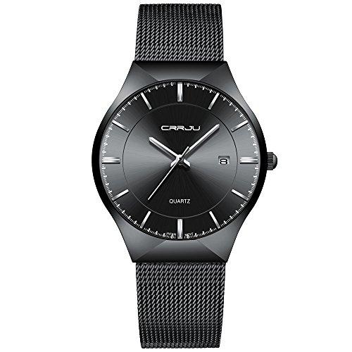 CRRJU Men Business Slim Analog Quartz Watch,Date Black Dial Wrist Watch with Mesh Bracelet Strap by CRRJU (Image #1)'