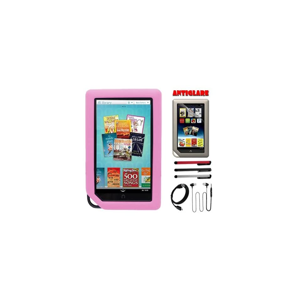 Premium Pink Silicone Skin Case + Anti Glare Screen Protector + USB Cable + Headphone w/mic + 3 color Stylus Pen for  Nook Color, Newest Nook Tablet