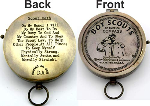 Boy Scout Compass (Engraved American boy scouts compass gift, Scout oath Engraved on back, graduation, Birthday, Eagle Scout ceremony, Keepsake, Vintage working)
