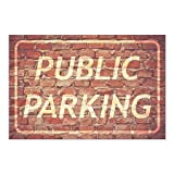 CGSignLab | ''Public Parking -Ghost Aged Brick'' Repositionable Opaque White 1st Surface Static-Cling Non-Adhesive Window Decal (5-Pack) | 27''x18''
