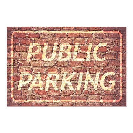 CGSignLab | ''Public Parking -Ghost Aged Brick'' Repositionable Opaque White 1st Surface Static-Cling Non-Adhesive Window Decal (5-Pack) | 27''x18'' by CGSignLab