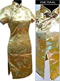 Coac3 Chinese Qipao Short Style Cheongsam Women Traditional Silk Satin Dress Dragon&Phenix Size S M L XL XXL Gold L