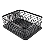 Drain Rack, Stainless Steel Sink Tableware Drying Rack Drain Board Storage Rack - for Storing Dishes, Bowls, Spoons, Cutlery and Other Kitchen Utensils, Black