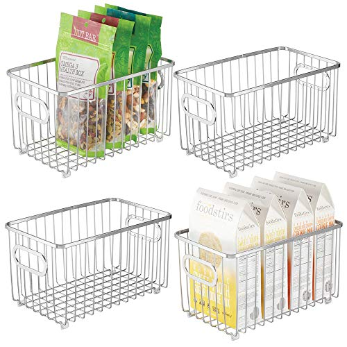 mDesign Metal Farmhouse Kitchen Pantry Food Storage Organizer Basket Bin - Wire Grid Design - for Cabinets, Cupboards, Shelves, Countertops, Closets, Bedroom, Bathroom - 10