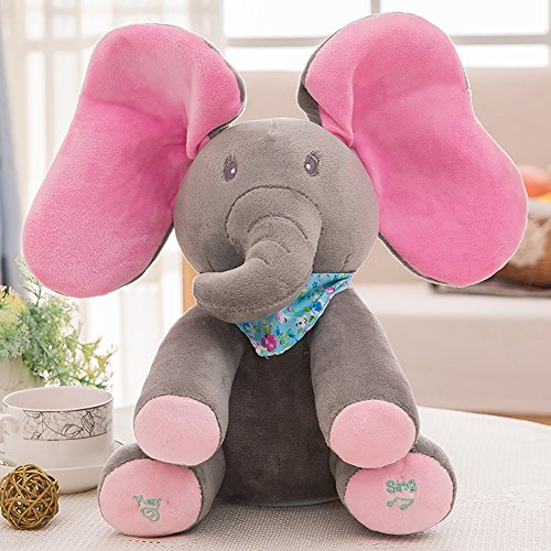 Price comparison product image Lanlan Plush Elephant Doll Toy, Play Music, Hide Eyes, Funny, Educational Toy, Lots of Cute Kinds for Choice Pink ear gray body