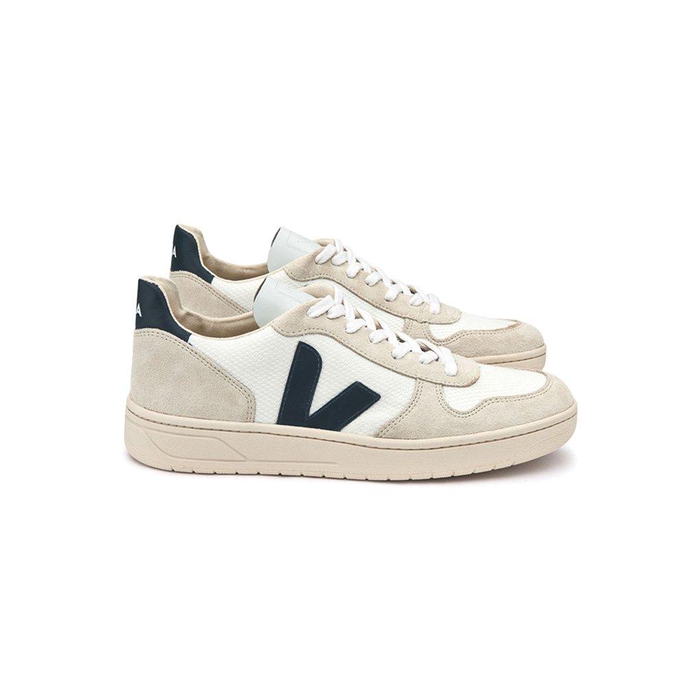 White Nautico B-mesh VEJA Man's Sneaker V-10 in Pelle white Con Logo in Gomma blue