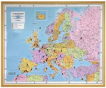 Personalizado Mapa de Europa Traveller – Luz Madera enmarcado pared mapa: Amazon.es: Oficina y papelería