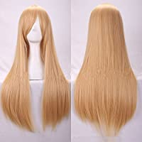 New 80cm Straight Sleek Long Full Hair Wigs w Side Bangs Cosplay Costume Womens, Blonde