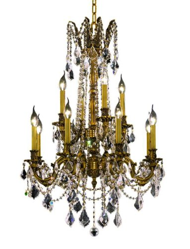 Elegant Lighting 9212D24FG/RC Rosalia 12-Light Chandelier, Royal Cut Rc Crystal, 24