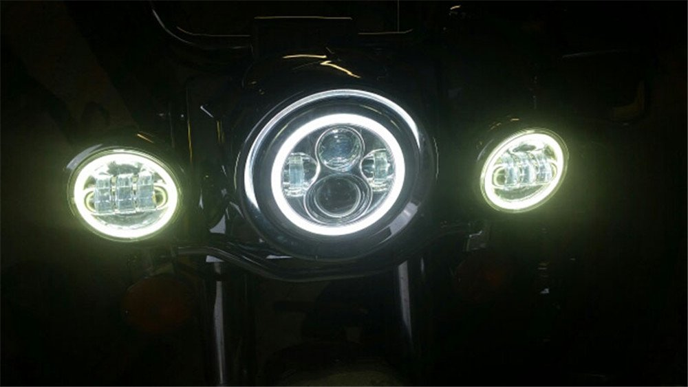 Athiry 1 pair Black 4-1//2 4.5 inch led fog lights Auxiliary Passing for Harley-Davidson Night Train