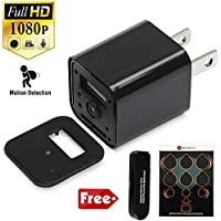 SecurityMax 1080P HD Wall Charger Hidden Spy Camera / Multi-Functional Wall Adapter (Motion Detection) with Free Webcam Stickers and OTG Card Reader