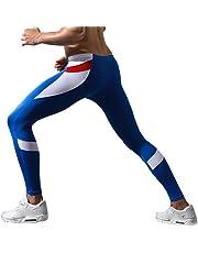 OVERMAL Mens Leggings Sports Running Yoga Athletic Pants Men's Patchwork Low Rise Leggings Long Johns Thermal Pant