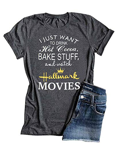 I Just Want to Drink Hot Cocoa Bake Stuff and Watch Hallmark Shirt Merry Christmas Movies Tee Tops Blouses - Hot Tee Cocoa