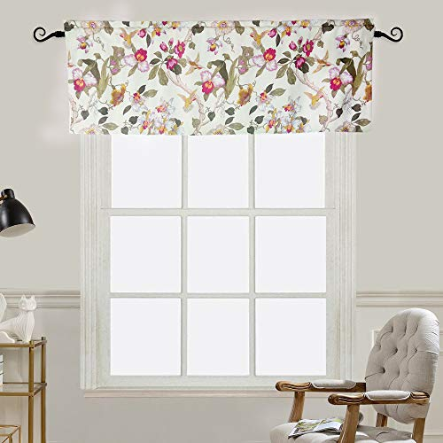 MYRU Flowers Birds Retro Curtain Valance for Windows (54