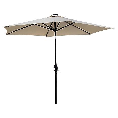 Amazon Com Sun Ray 9 Solar Lighted Patio Umbrella Cream Garden