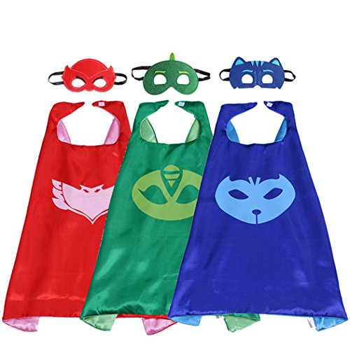 70CM x 70CM Comics Cartoon Dress up Costume Satin Cape with Felt Mask, PJ Masks Catboy, Gekko,Owlette