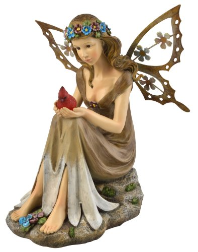 (Moonrays 91351 Solar Powered Garden Fairy With Red Glowing LED Cardinal in hands, Polyresin With Hand Painted Details and Metal Wings, Rechargeable NiCd Battery, LED)