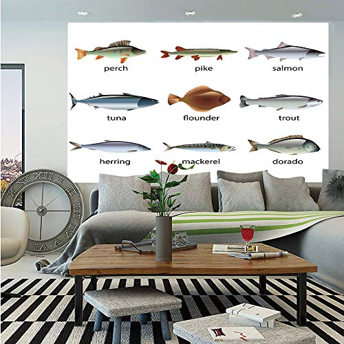 SoSung Ocean Animal Decor Wall Mural,Group of Fish with Perch Tuna Pike Flounder Mackerel Trout Aquatic Artwork,Self-Adhesive Large Wallpaper for Home Decor 55x78 inches,Multi
