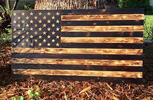 (Burnt American Wood Flag | USA | Rustic Wall Art | 100% Handmade | 36