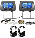 Rockville RTSVD961-GR 9 Gray Touchscreen DVD/HDMI Headrest Monitors+Headphones