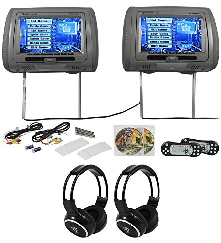 - Rockville RTSVD961-GR 9 Gray Touchscreen DVD/HDMI Headrest Monitors+Headphones