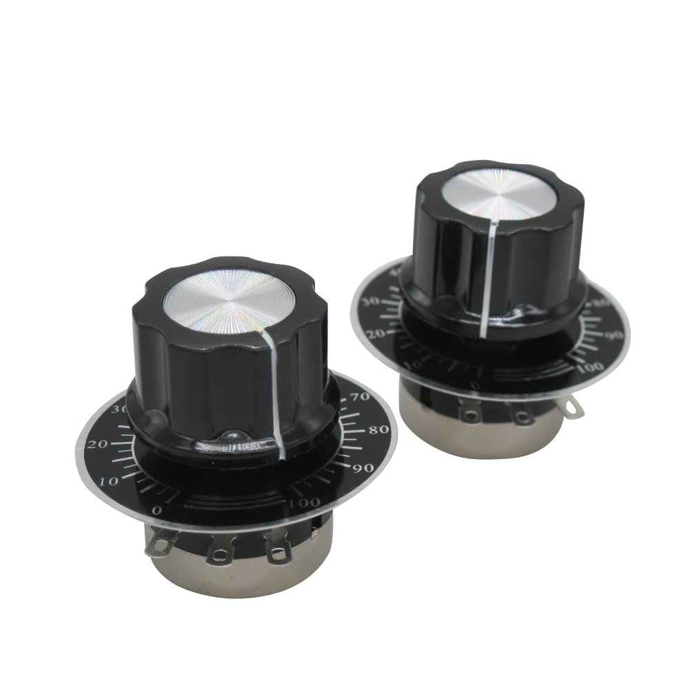 TWTADE/2pcs rv24yn20s b102 1k ohm Single Turn Rotary Carbon Linear Variable Potentiometer,Used for Inverter Speed Regulation. Motor Speed Control + 2pcs A03 knob + 2pcs dials