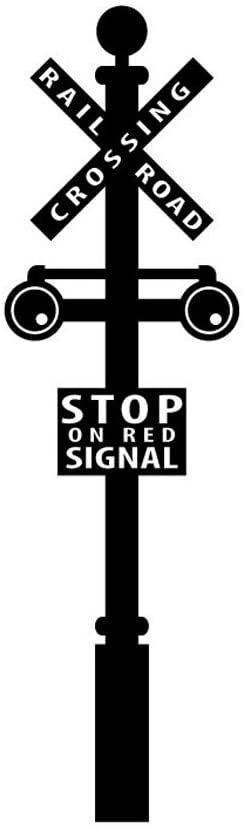 Empresal Railroad Crossing Sign Decal Train Crossing Wall Decal Removable Train Wall Art