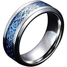 Sliver and Blue Celtic Dragon Titanium Steel Wedding Band Ring for Mens and Womens 8MM Width Size 7-14