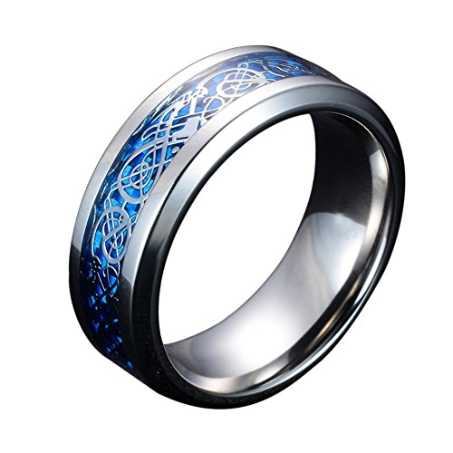 Mingjiahui Sliver and Blue Celtic Dragon Titanium Steel Wedding Band Ring for Mens and Womens 8MM Width Size 9