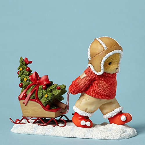Enesco Cherished Teddies Collection - Fig Bear Pulling Sled/tr - Enesco Cherished Teddies Bear