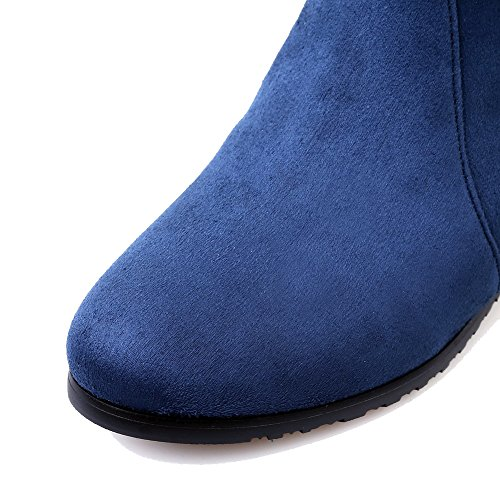 AllhqFashion Womens Kitten-Heels Frosted Solid Zipper Round Closed Toe Boots Blue 4qPm3sG