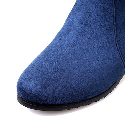 Allhqfashion Femmes Chaton-talons Dépoli Solide Fermeture À Glissière Ronde Fermé Orteils Bottes Bleu