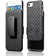 iPhone 8/7/6/6s Holster Case, Aduro Combo Shell & Holster Case - Super Slim Shell Case with Built-in Kickstand, Swivel Belt Clip Holster for Apple iPhone 8, 7, 6, 6s